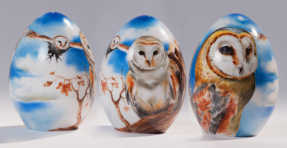 Owls on porcelain eggs
