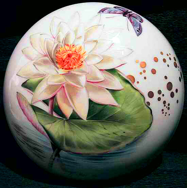 Flower on porcelain ball